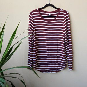 Old Navy Relaxed Plush Striped Burgundy Shirt sz L